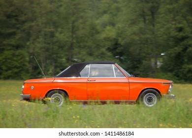 Frickenhausen, Germany - May 19, 2019: BMW 2002 german oldtimer car at the 25. International Oldtimer-Rallye event.