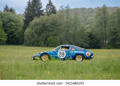 Frickenhausen, Germany - May 19, 2019: Renault Alpine french oldtimer car at the 25. International Oldtimer-Rallye event.
