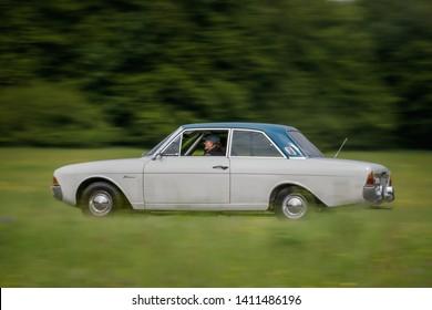 Frickenhausen, Germany - May 19, 2019: Ford Taunus oldtimer car at the 25. International Oldtimer-Rallye event.