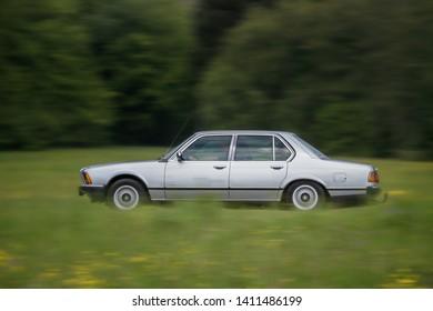 Frickenhausen, Germany - May 19, 2019: BMW german oldtimer car at the 25. International Oldtimer-Rallye event.