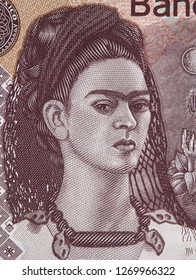 Frida Kahlo portrait on Mexico 500 peso bill. Famous Mexican artist, Icon of Feminism.
