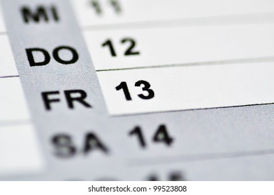 Friday the 13. on a calendar. Sphere blurred