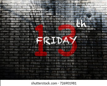 Friday 13th word on grunge wall background