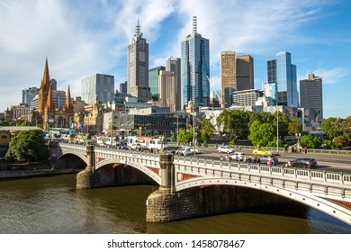 Friday 16 October 2015, Melbourne, Australia : Cityscape of business building along Yarra River with beautiful blue sky in Southbank area, Melbourne city, Victoria