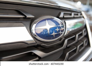 Friday, 24 March 2017: in Chiang Mai Thailand, Close Up Logo Of Subaru. Subaru is the automobile manufacturing division of Japanese transportation conglomerate Fuji Heavy Industries (FHI).