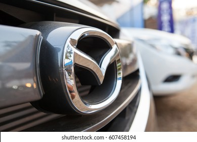 Friday, 24 March 2017: :in chiangmai thailand, The Mazda symbol. Mazda, is a Japanese automaker based in Fucha, Aki District, Hiroshima Prefecture, Japan.