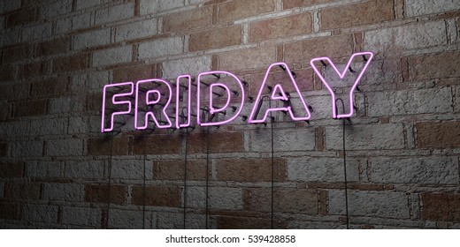 FRIDAY - Glowing Neon Sign on stonework wall - 3D rendered royalty free stock illustration.  Can be used for online banner ads and direct mailers.