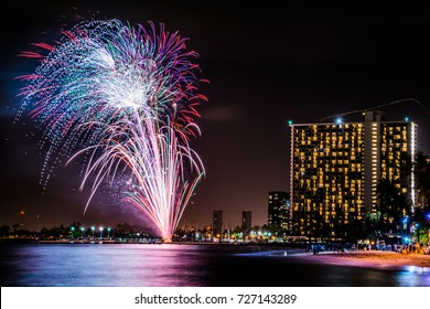 Friday night fireworks in Waikiki, HI.