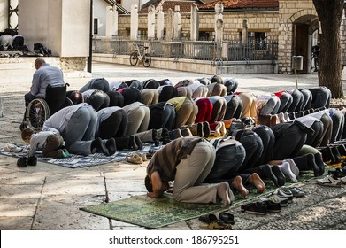 Friday Ramadan prayer/Sarajevo, Bosnia and Herzegovina, July 12, 2013 Muslims are taking the third prayer of the day, Asr, during Ramadan month in the Old Town Mosque of Sarajevo.