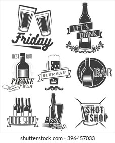 Friday is time to drink. Set of weekend party labels in vintage style. Badges, emblems and isolated logos for shop design. Shots, bottles and glasses