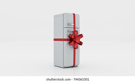The fridge. concept discounts. 3d rendering