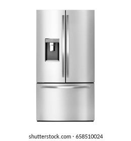 Fridge Freezer with Ice and Water System Isolated on a White Background. Front View of Stainless Steel Smart Refrigerator. Clipping Path. Domestic and Kitchen Appliances