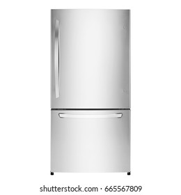 Fridge Freezer Isolated on a White Background. Front View of Stainless Steel Refrigerator. Kitchen Appliances. Clipping Path