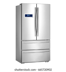 Fridge Freezer Isolated on a White Background. Side View of Stainless Steel Side-by-Side Bottom Smart Refrigerator with LED Control Display. Kitchen and Domestic Appliances