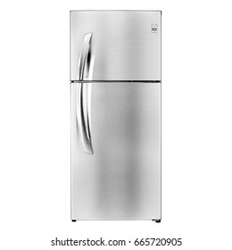 Fridge Freezer Isolated on a White Background. Front View of Smart Refrigerator. Kitchen Appliances. Clipping Path