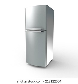 Fridge isolated metal with white background