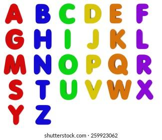Fridge Magnet Alphabet Isolated on White