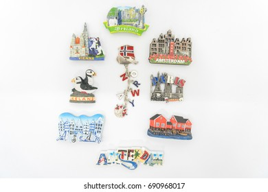 Fridge magnet collection isolated on white - Europe's country Souvenirs