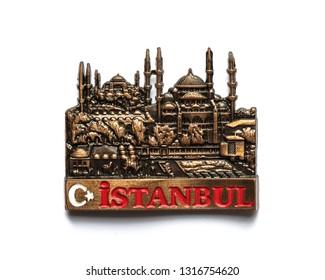 Fridge magnet isolated on white background - Istanbul, Turkey.