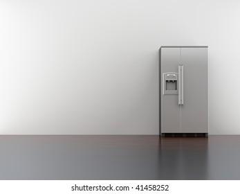 fridge on blank white wall