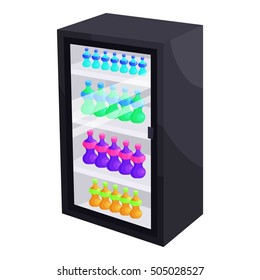 Fridge with refreshments drinks icon. Cartoon illustration of fridge  icon for web