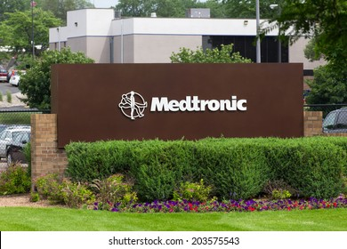 FRIDLEY, MN/USA - JUNE 23, 2014: Medtronic corporate headquarters campus. Medtronicis the world's fourth largest medical device company and is a Fortune 500 company.