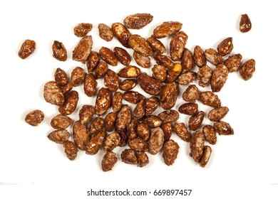 Fried almonds isolated