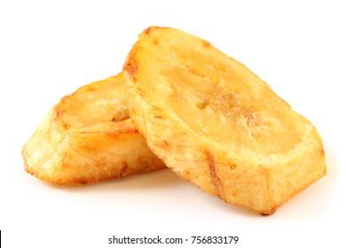 Fried banana slices on white background