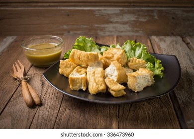 Fried bean curd eaten with sauce for healthy.