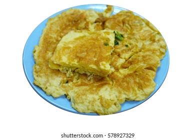 Fried beaten egg on blue dish with white background.(with cliping path in the lmage)