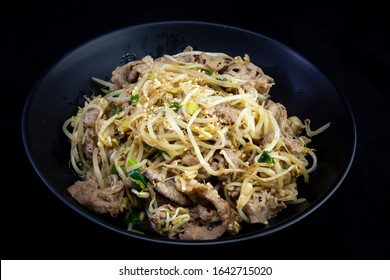 Fried Beef Brisket and mung bean sprout with soy sauce