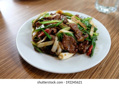 fried beef with green onion