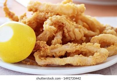 Fried calamari (squid) ready to eat
