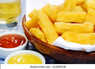 Fried cassava in pub table