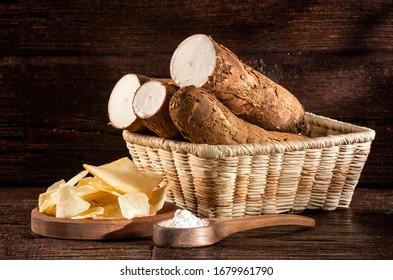 Fried cassava slices - Manihot esculenta. Text space