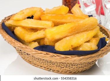 Fried cassava in white background