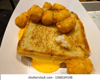 fried cheese sandwich with tots