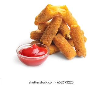 Fried cheese sticks and bowl with tomato sauce on white background