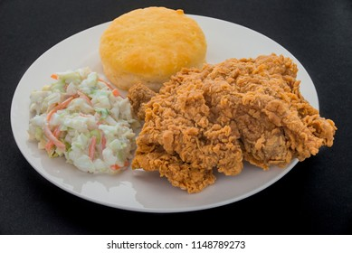 Fried Chicken with biscuit and coleslaw