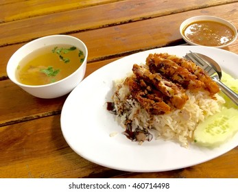 Fried chicken and boil chicken with rice, Asian style