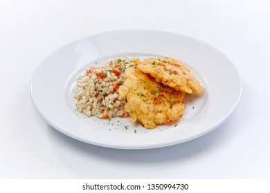 fried chicken breast with barley on the white background