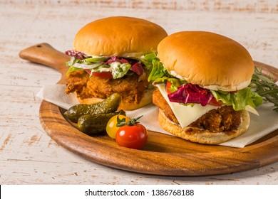 Fried chicken burger American foods