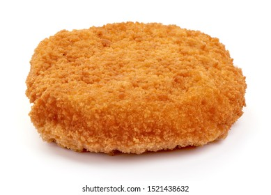 Fried chicken Cordon bleu with cheese in breadcrumbs, isolated on white background.