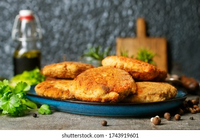 fried chicken cutlets, cutlets from chicken on plate