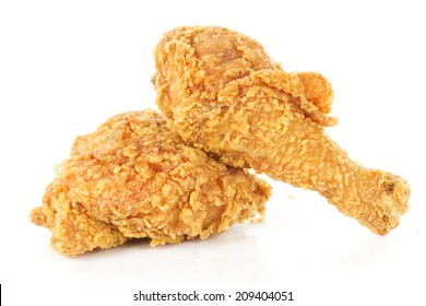 fried chicken drumsticks and hip isolated on white background