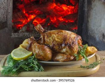 fried chicken, fireplace