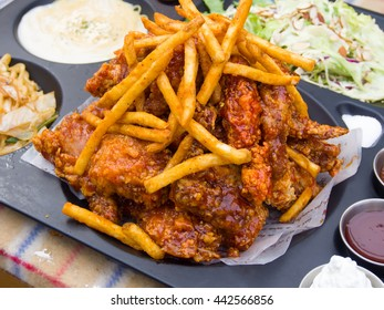 Fried chicken with French fries in Korean style