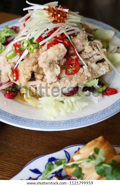 fried chicken with hot sour soy sauce
