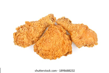 Fried chicken  isolated on white background. Top view