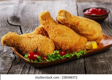 fried chicken leg breaded